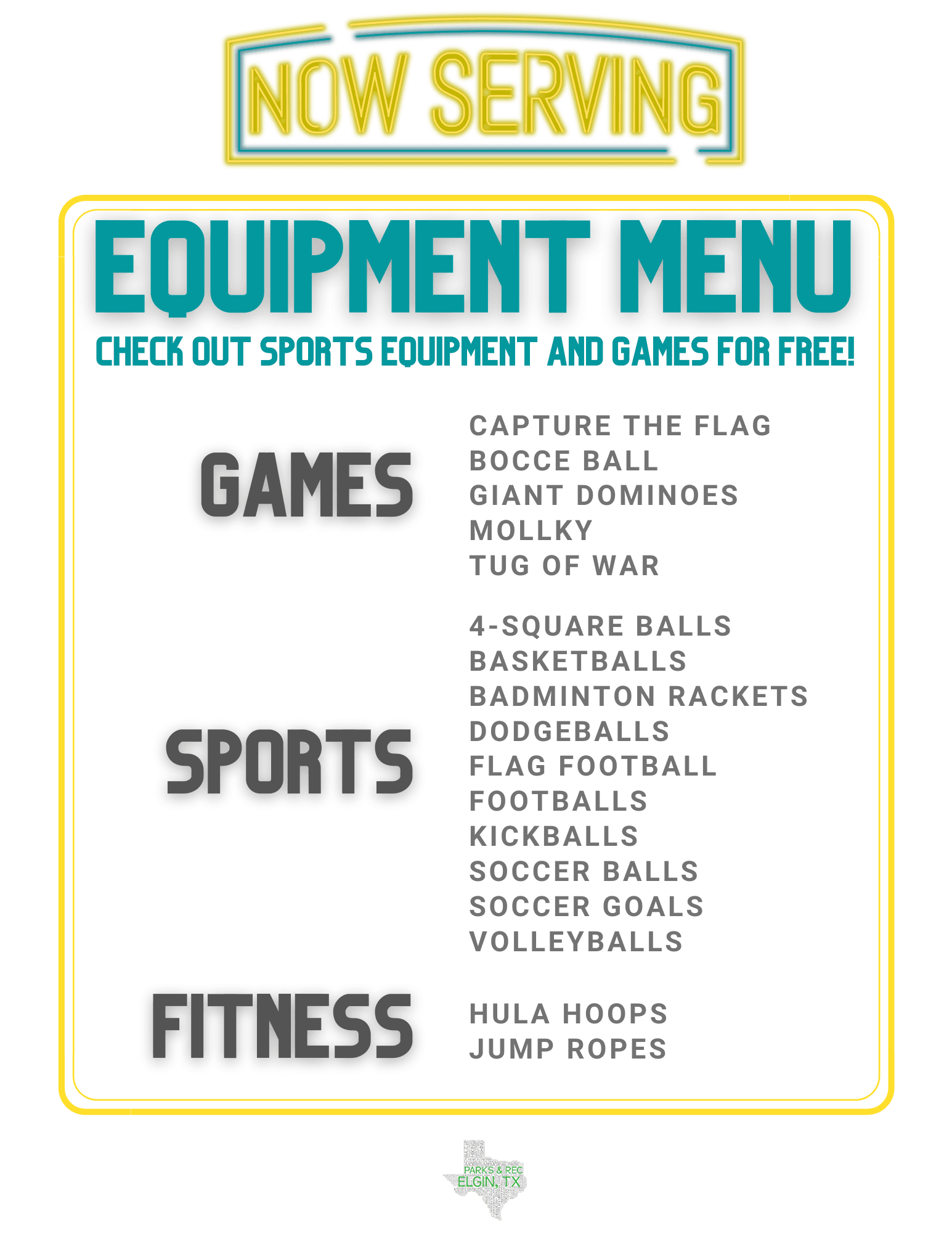 Equipment Menu